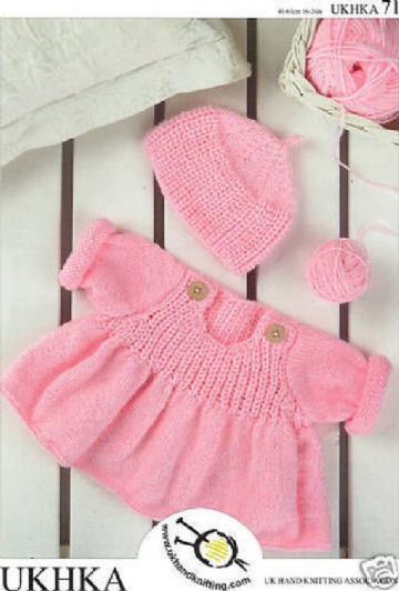 Baby Flared Sweater and Hat  DK Knitting Pattern 16 - 24 inches- birth - 4 years UKHKA 71
